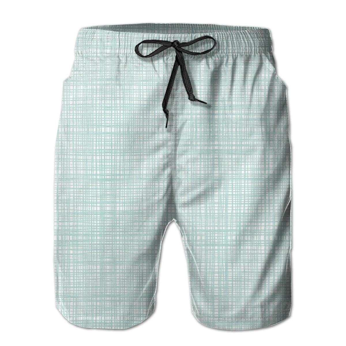 FASUWAVE Mens Swim Trunks Quick Dry with Mesh Lining Blue Crosshatch Mens Bathing Suits