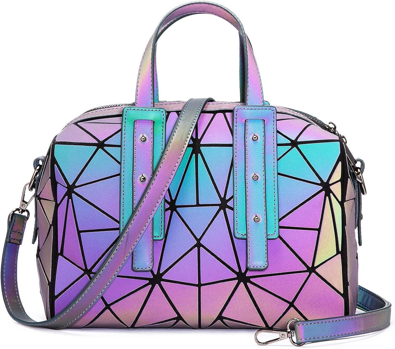 Women Geometric Luminous Handbag, Holographic Tote Purses Shoulder Crossbody Bag