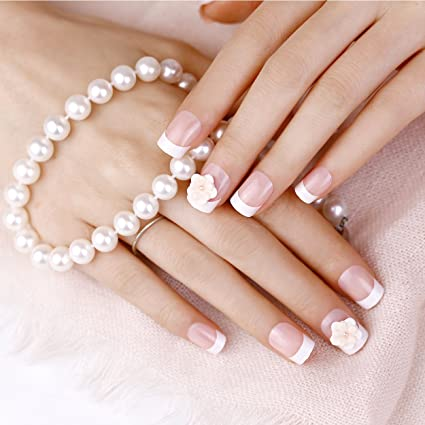 Amazon.com : ArtPlus 24pcs Bride White Tea Rose Elegant Touch French Manicure False Nails with Glue Full Cover Medium Length Fake Nails Art : Beauty