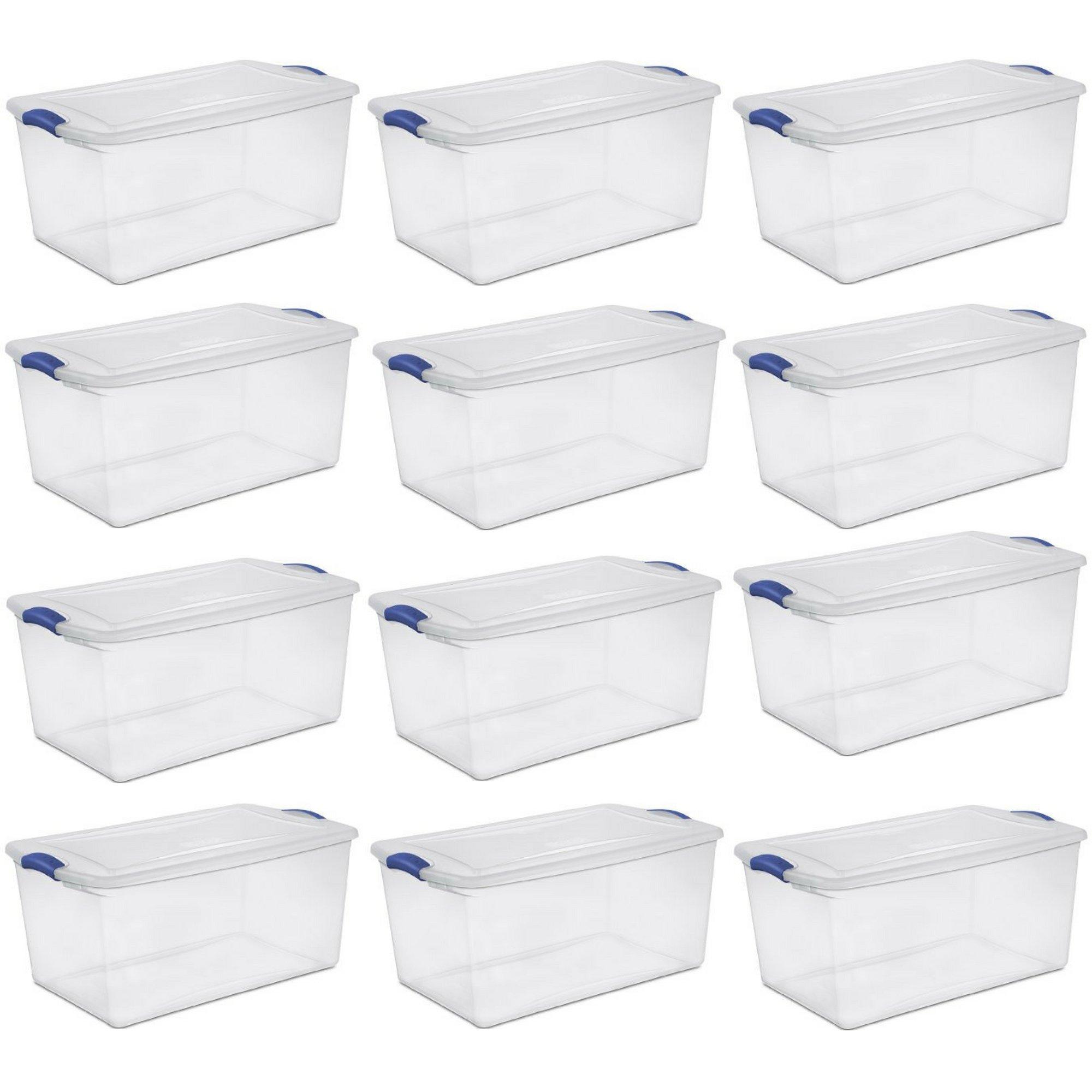 Sterilite 66 Qt./62 L Latch Box, Stadium Blue - 12 Pack
