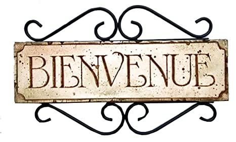 Amazon.com: Bienvenue Francés Cartel para puerta: Home & Kitchen