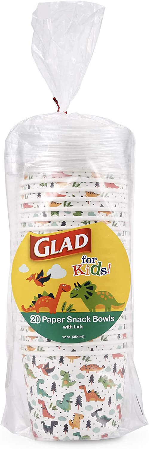 Glad for Kids Dinosaur Paper Snack Bowls with Lids | Disposable Snack Cups with Lids with Dinosaurs | Heavy Duty Paper Bowls for Soup, Ice Cream, 20 Count| Disposable Bowls, Dinosaur Party Supplies