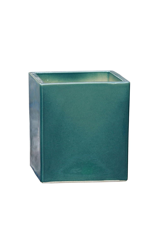 Großer Pflanztopf Pflanzkübel eckig frostsicher Größe L 30 x B 30 x H 34 cm, Farbe effekt grün, Form 244.034.66 Pflanzkübel quadratisch Qualität von Hentschke Keramik