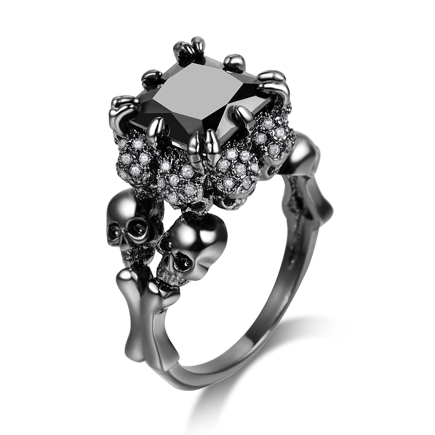 DALARAN Women's Cubic Zirconia Skull Rings Black Claw Gothic Band Cool Party Jewelry DWJLR1182