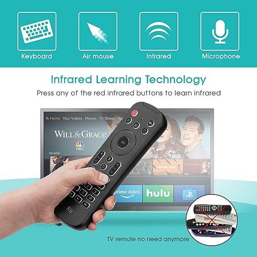 Rii MX6+ Wireless + IR - Control remoto con Gyro Mouse, teclado retroiluminado y micrófono para Android Smart TV, TV Box, PC y Mac