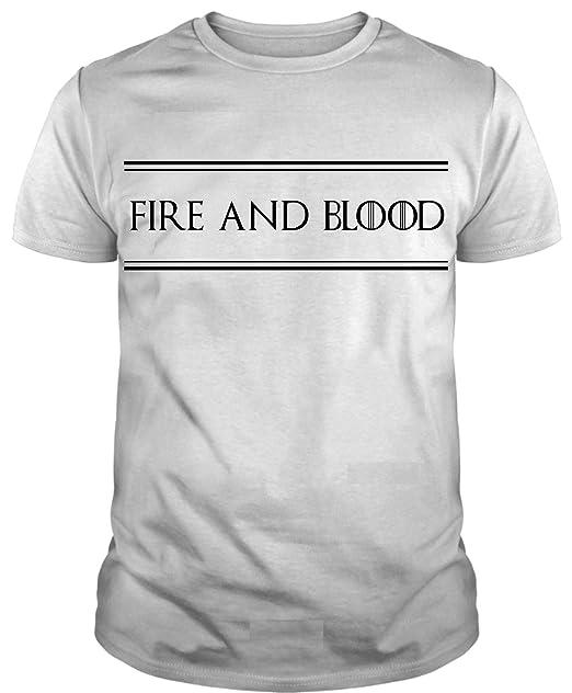 Camiseta de Mujer Juego de Tronos Nombre Fire and Blood M Blanco