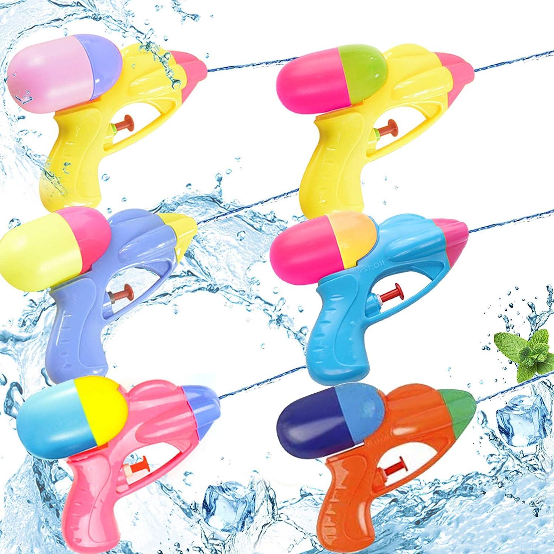 Sunshine smile Pistola de Agua pequeña,Pistola de Agua Juguete,Pistola de Agua niños Adultos,Pistola de Agua de Verano para Playa,Pistola de Agua (6pcs)