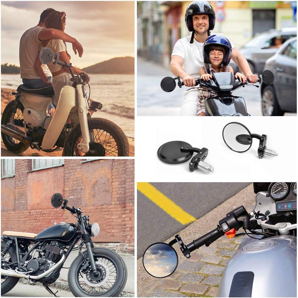 Lytivagen 2 Stück Motorrad Lenkerendenspiegel Runde Motorrad Spiegel Universal Motorrad Rückspiegel Aus Aluminium 360 Drehbarer Lenkerspiegel Mit 4mm Inbusschlüssel Für Motorrad Auto