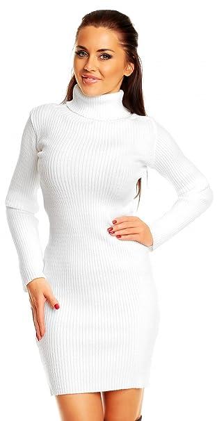 sale retailer 11ef0 8dd24 Zeta Ville - Vestito Dolcevita Maglia a Coste Aderente - Collo Alto - Donna  417z