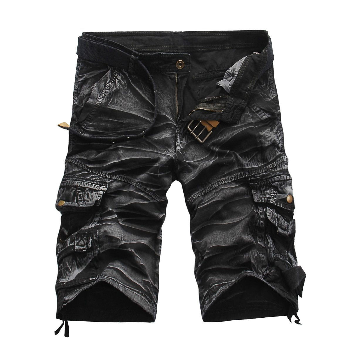 GARMOY Men's Cargo Shorts Camouflage Multi Pockets Twill Fit Breathable Summer Loose Outdoor Shorts Black Camouflage-36