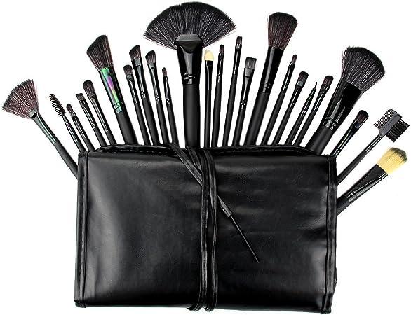 24 brochas de maquillaje Unicoco profesionales y un estuche negro; con brochas para sombra de ojos, delineador de ojos, polvos y base de maquillaje: Amazon.es: Hogar