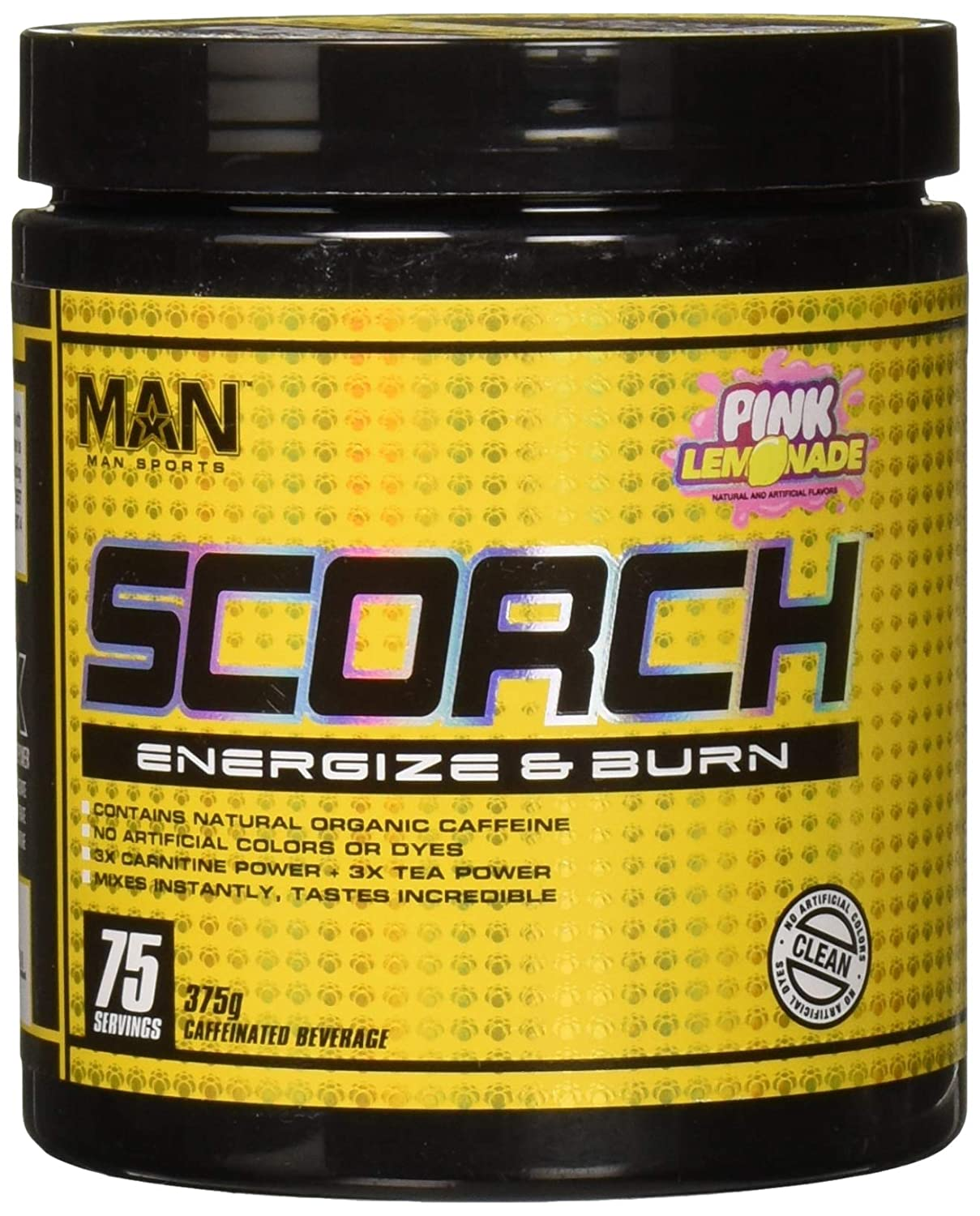 Man Sports Scorch – Fat Burning Powder for Men and Women – Hunger Suppressant – Weight Loss Supplement – 375 Grams, 75 Servings – Pink Lemonade
