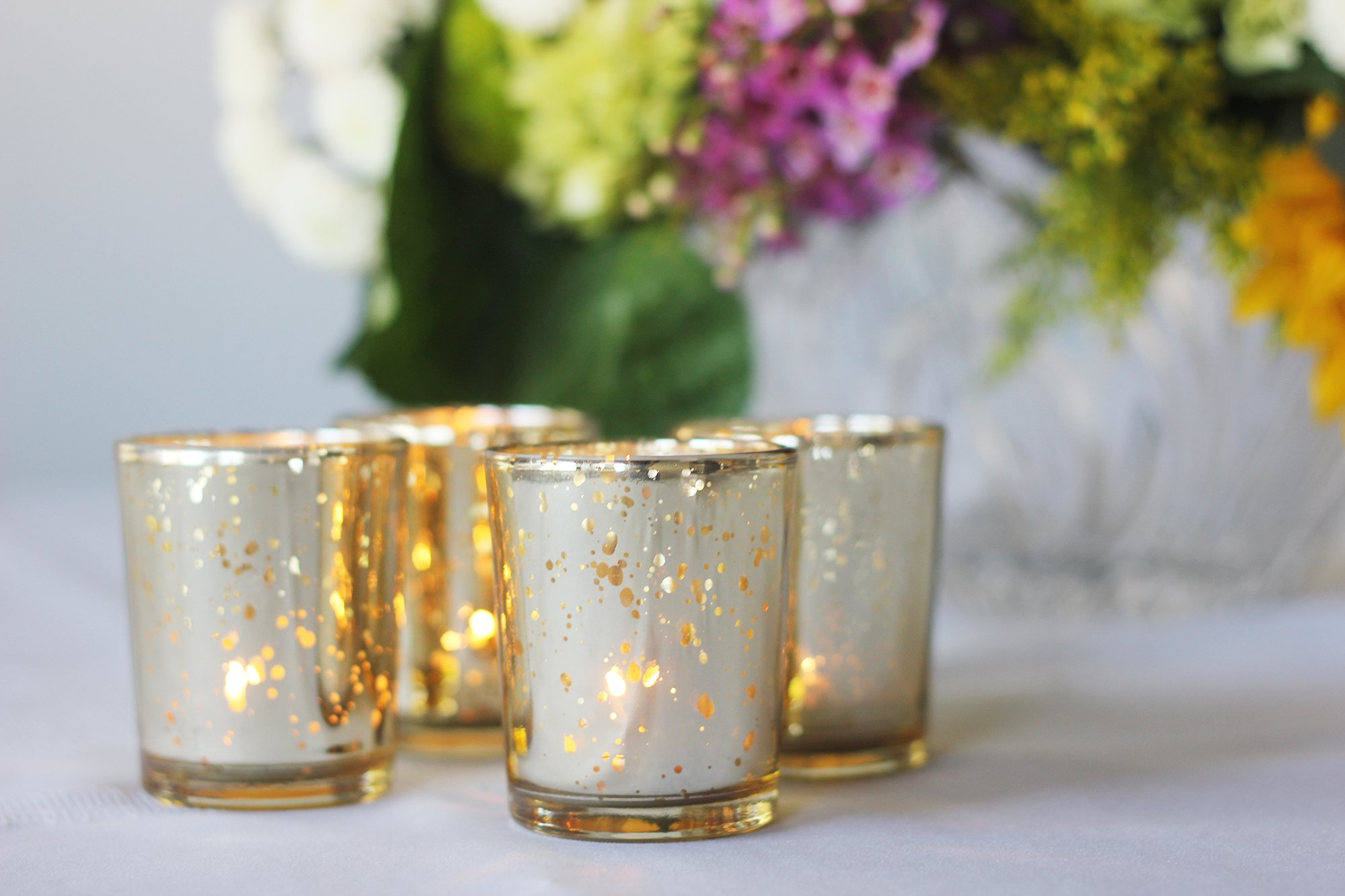 item 1 Just Artifacts Round Mercury Glass Votive Candle Holders Speckled  Gold (11 pcs) -Just Artifacts Round Mercury Glass Votive Candle Holders  Speckled ...