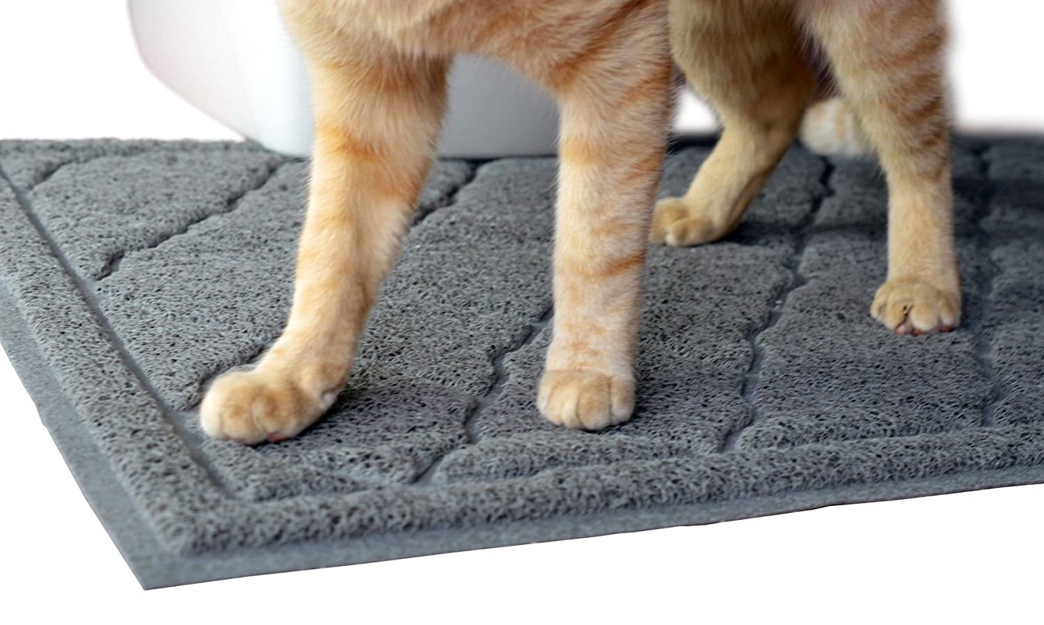 """Large Cat Litter Mat - 60x90cm (35"""" x 23"""") - Large Scatter Control Kitty Litter Mats for Cats Tracking Litter Out of Their Box - Soft to Paws (Large, Grey) PlasticsMats LTD PET-LM-90-60-GR"""