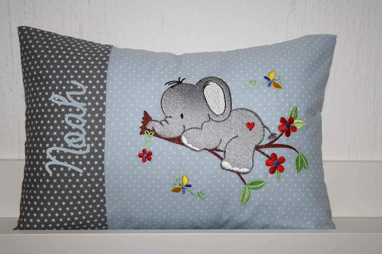 Kissen Elefant Ast mit Namen bestickt und Inlett *3