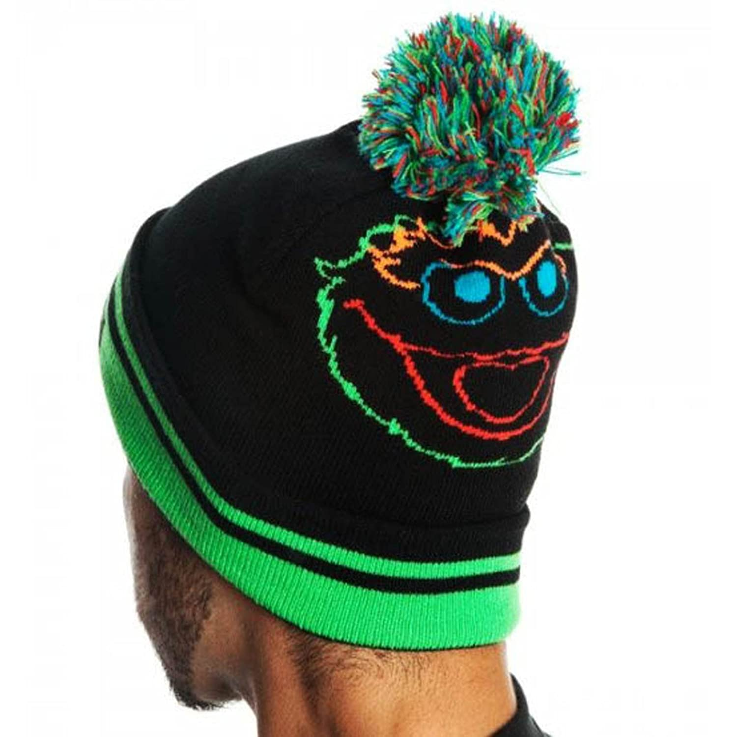 amazon com sesame street oscar the grouch day glow black beanie
