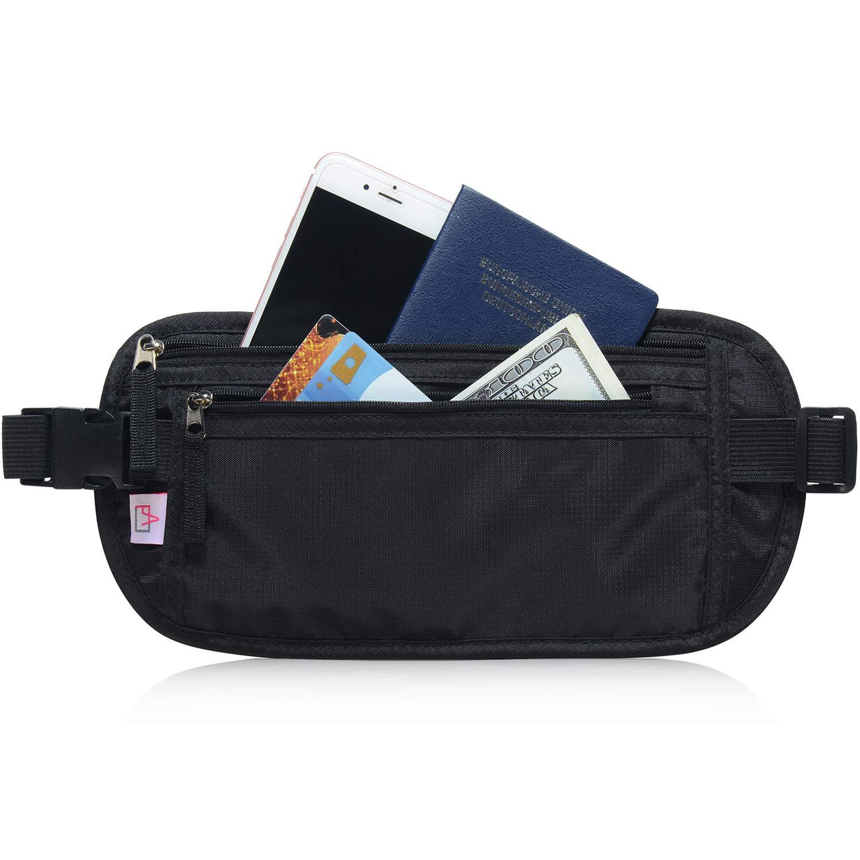 RFID Blocking Travel Wallet - Money Belt & Passport Holder for Women Men - Black by AIKELIDA