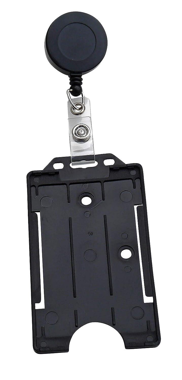 5 X porta badge Yoyos con porta carte in plastica rigida in formato verticale Nero