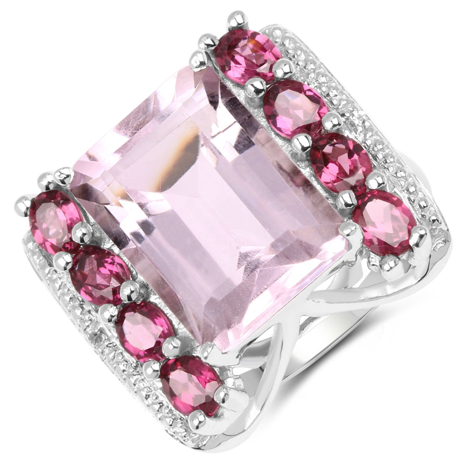 Johareez 7.88 cts Pink Amethyst Rhodolite /& White Topaz .925 Sterling Silver Rhodium Plated Ring for Women