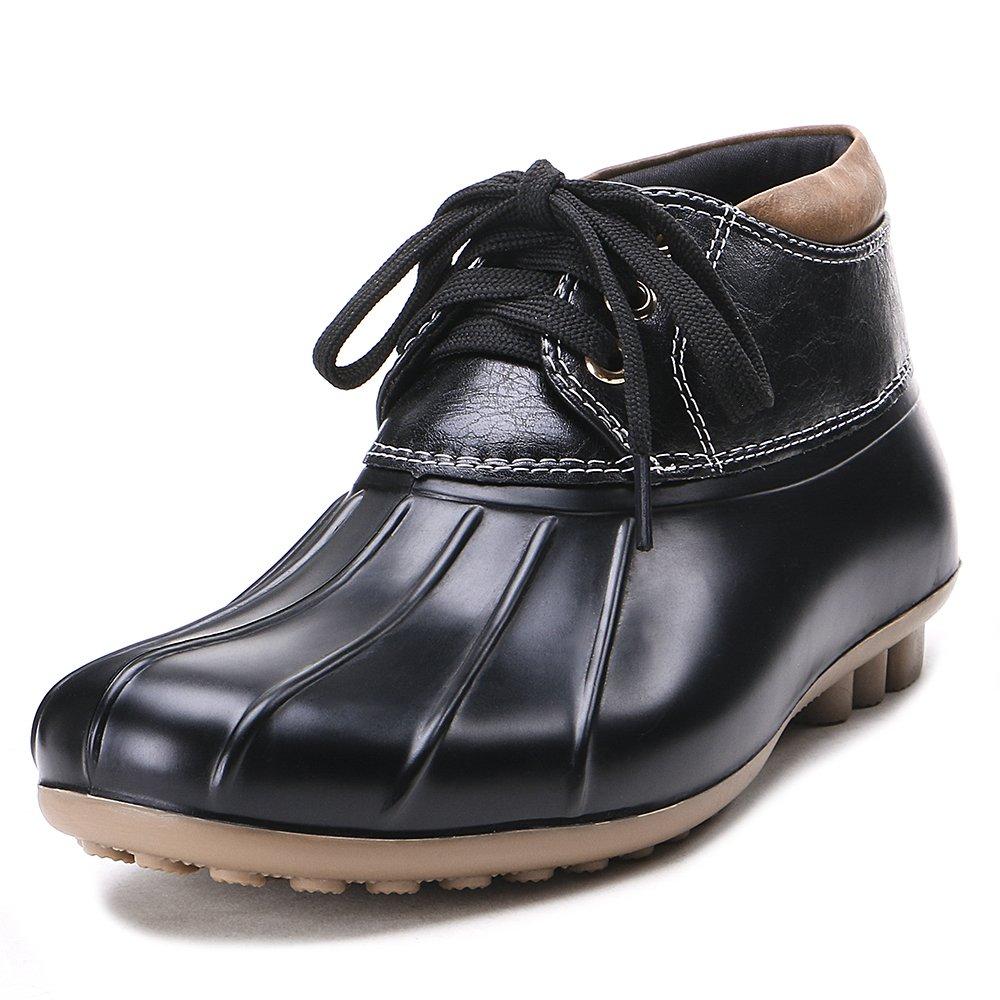 TONGPU Womens Waterproof Fashion Rain Duck Boots (US 8, Black 2)
