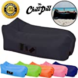 The Chill Pill Premium Inflatable Lounger Blow Up Sofa Air Bed With Pockets & Drinks Holder