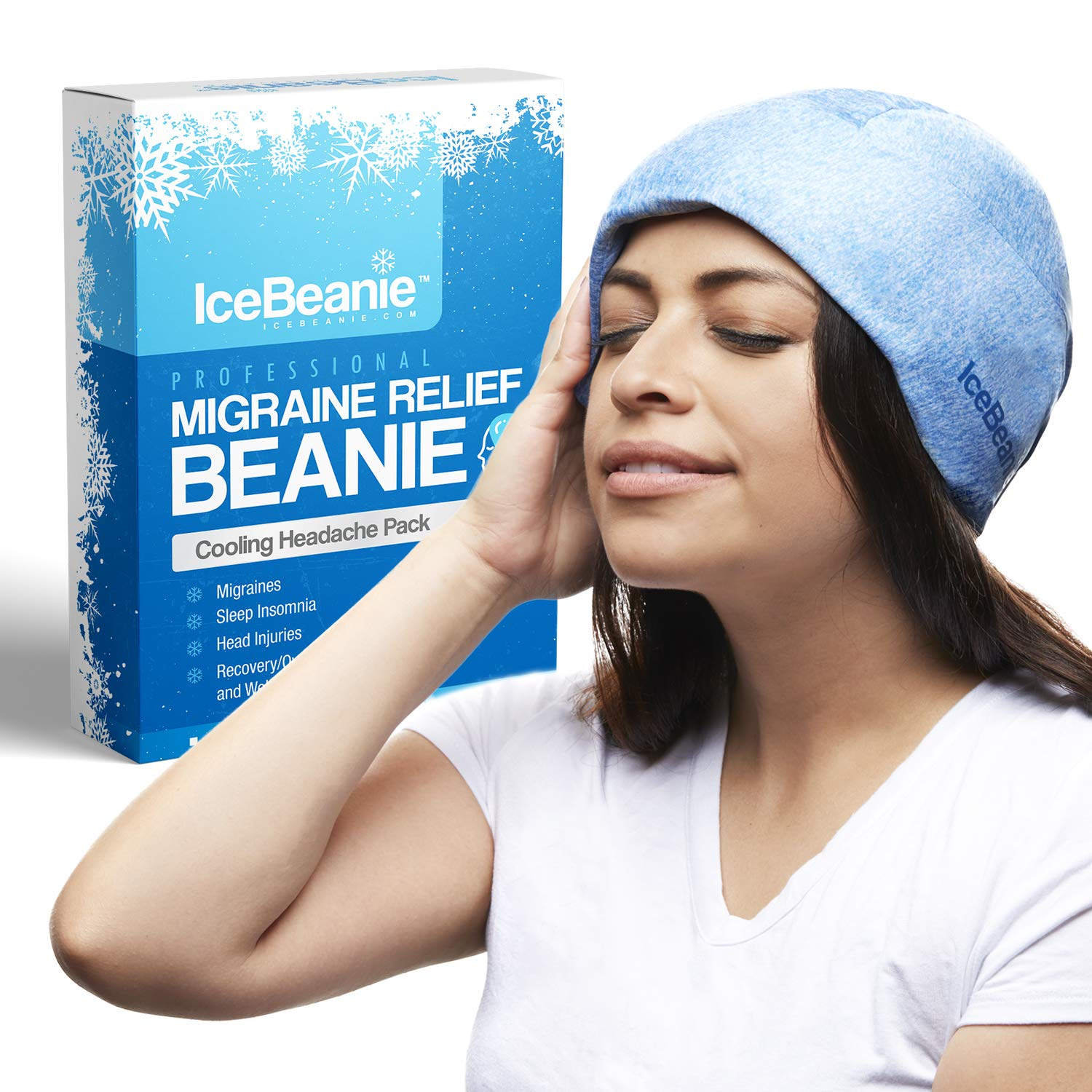 IceBeanie Natural Migraine Relief - Eliminate Tension Headaches, Wearable & Freezable Acupressure Designed Cold Pack Hat, Soothing Compression Relieves Pain Associated with Overexertion, Aches & Fever by ICE BEANIE
