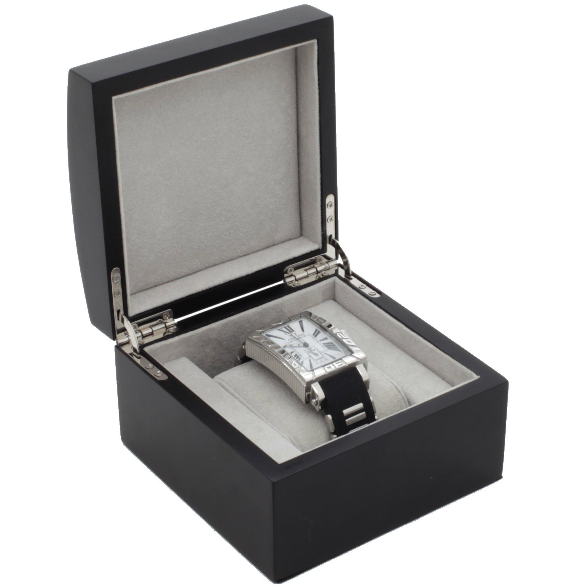 Single Watch Box 1 Extra Large Watch Wood Removable Cushion (Black Finish)