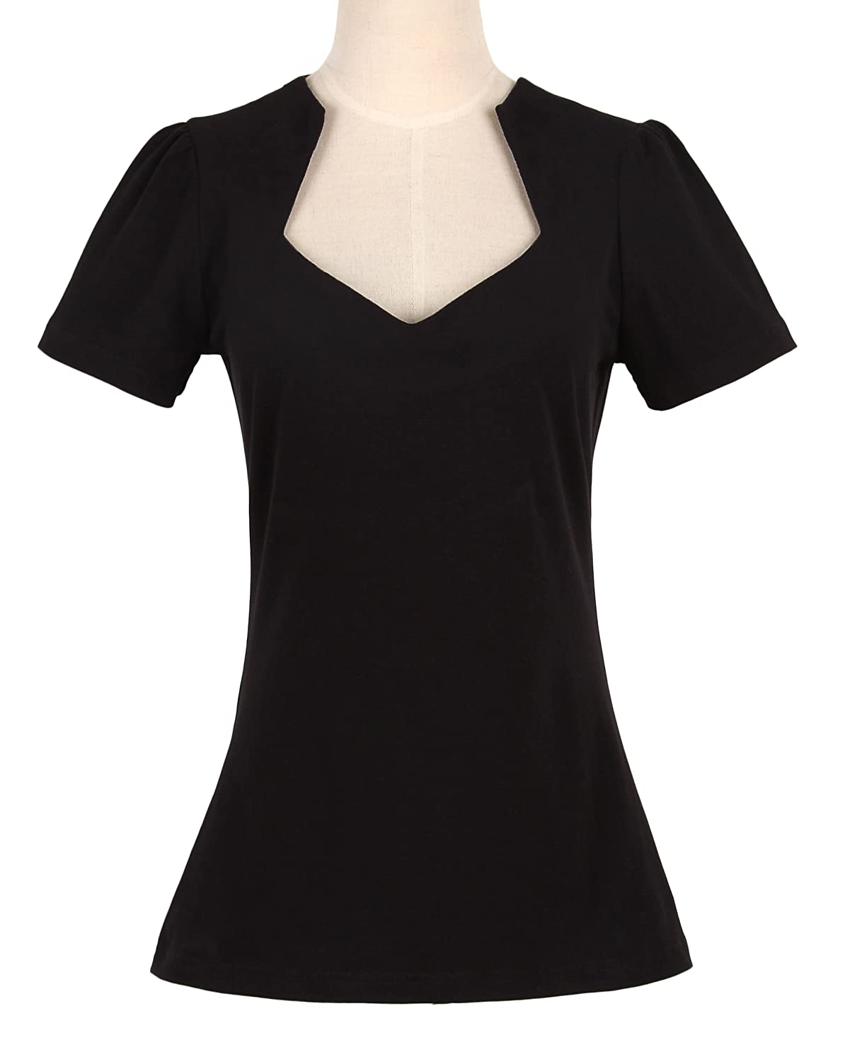 1940s Blouses and Tops Womens 50s pinup design sexy black tops sweetheart short sleeves vintage style $19.71 AT vintagedancer.com