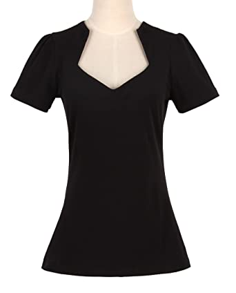 Womens 50s pinup design sexy black tops sweetheart short sleeves vintage  style Small
