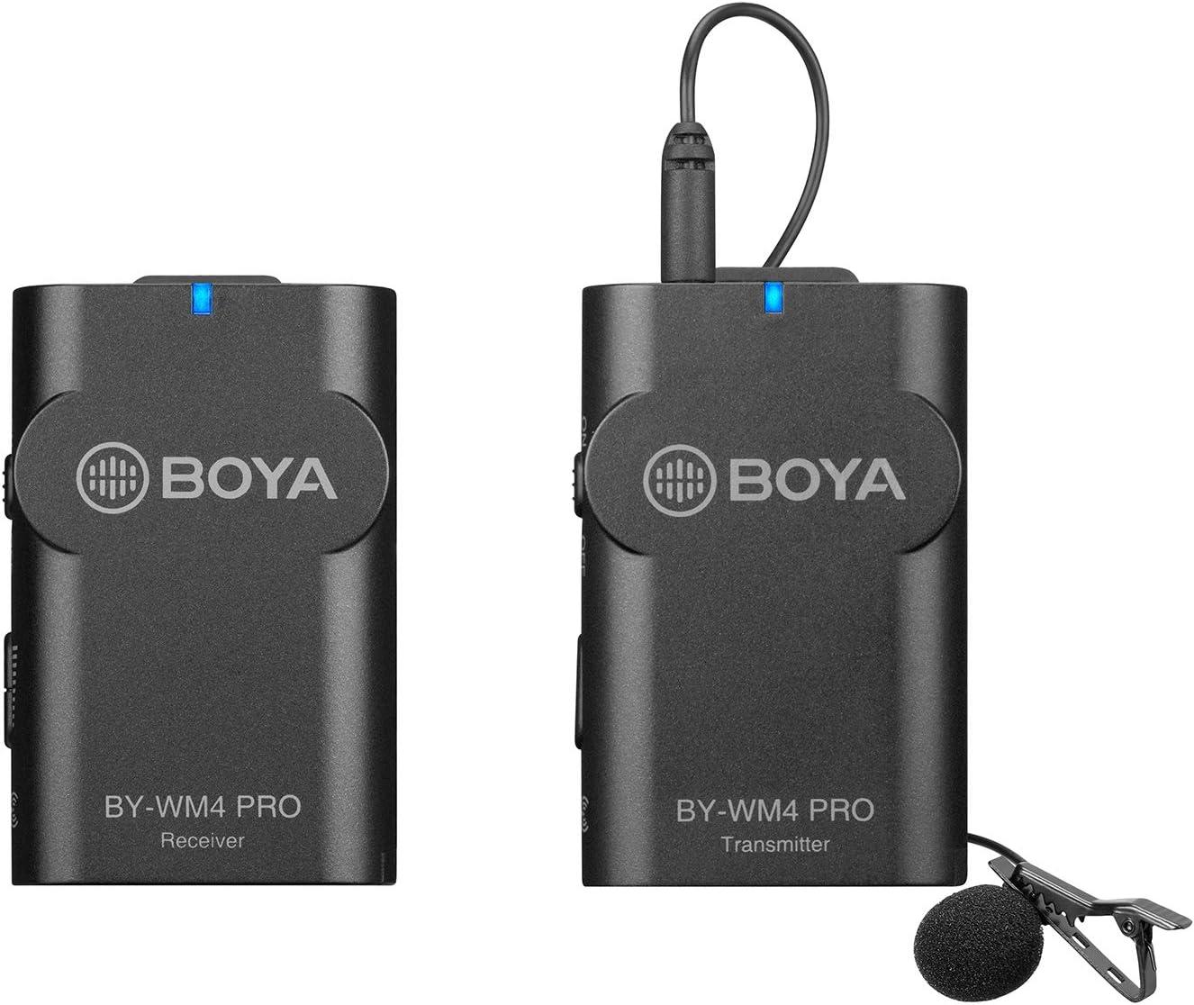 BOYA by-WM4 Pro K1 2.4G Sistema de micrófono inalámbrico (un transmisor + un Receptor) con Funda rígida Compatible con cámara DSLR Camcorder, Smartphone, PC, Tableta, entrevista de grabación de Audio