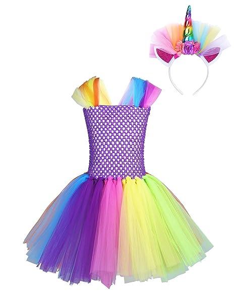 CHICTRY Disfraz de Infantil Unicornio Vestido de Princesa Niña con Diadema Cosplay para Fiesta Carnaval Actuación
