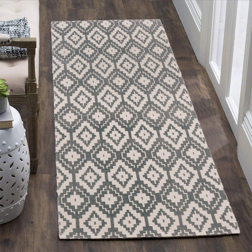 Uphome Cotton Runner Rug 2'x4.3' Moroccan Geometric Printed Area Rugs Hand Woven Diamond Indoor/Outdoor Throw Rugs Washable Floor Mat Carpet for Laundry Hallway Porch Bedroom Kitchen,Gray
