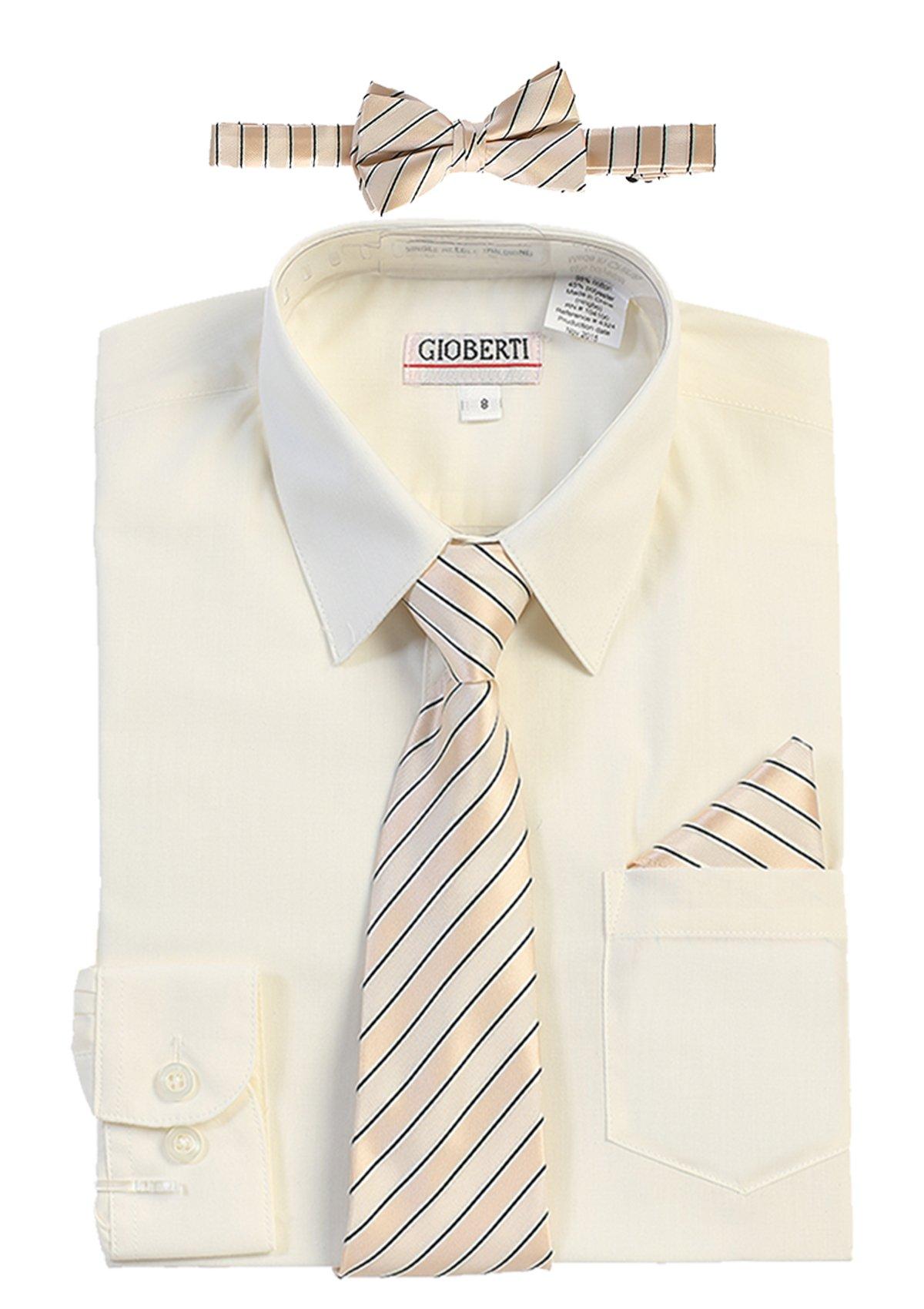 Gioberti Boy's Long Sleeve Dress Shirt + Stripe Zippered Tie Set, Ivory, Size 14