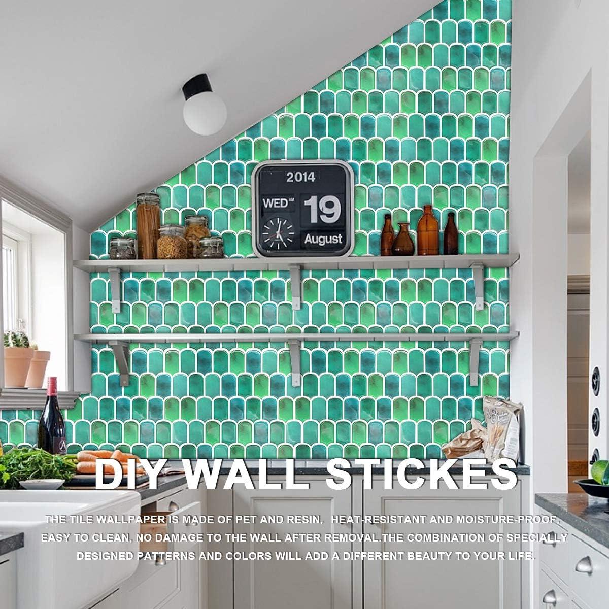 4 Sheets VIVID TREE Purple Tile Peel and Stick Wallpaper 12x12 Self Adhesive Removable Stick on Backsplash Wall Sticker Arch Pattern Wallpaper Tiles for Apartment,Kitchen,Bathroom,RV