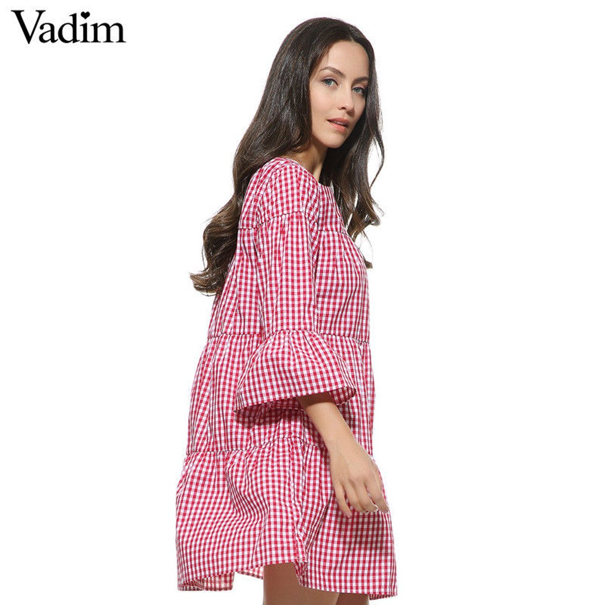Amazon.com: vadim Women Oversized Pleated Checkered Casual Summer Dress: Clothing
