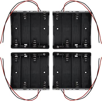 KEESIN 3.7V 18650 Caja de Soporte de Batería Caja de Almacenamiento de Batería de Plástico con Cables y Abrazaderas de Cables Autoadhesivas (4Solts × 4piezas): Amazon.es: Electrónica