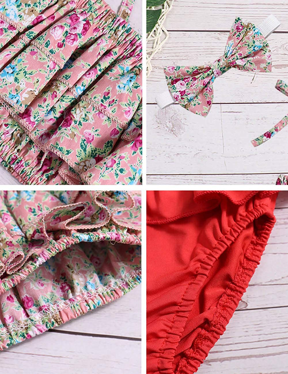Baby Girl Swimsuit Ruffle Red Dot Top and Bikinis Skirt with Headband 2 Piece Swimwear
