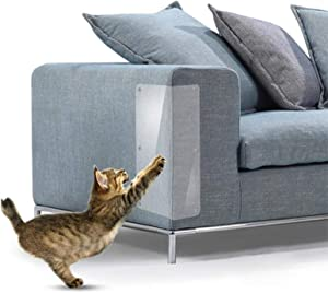 MYFAMIREA Couch Furniture Protectors from Cat Scratch Couch Corner Claw Guards for Cats Anti-Scratch Deterrent Self-Adhesive Pre Cut Pads - Residue Free