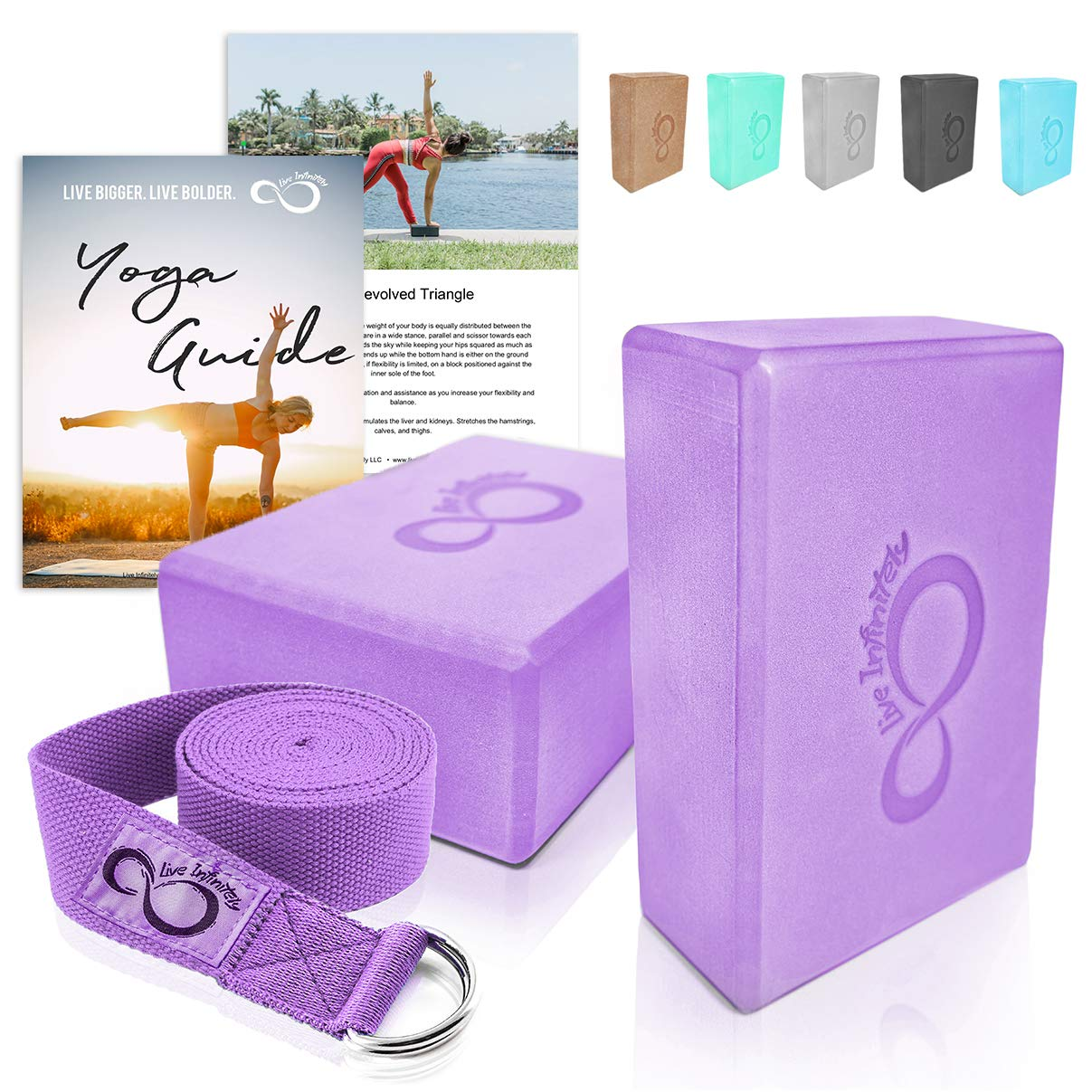 Premium Yoga Blocks & Metal D Ring Strap Yogi Set (3PC)