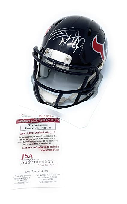 JJ Watt Houston Texans Signed Autograph Speed Mini Helmet Watt Hologram JSA  Witnessed Certified a32bd12cb