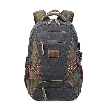 d06161cbff QGSDR Canvas Military Laptop School USB M  Nner Travel Backpack Rucks  Cke  M
