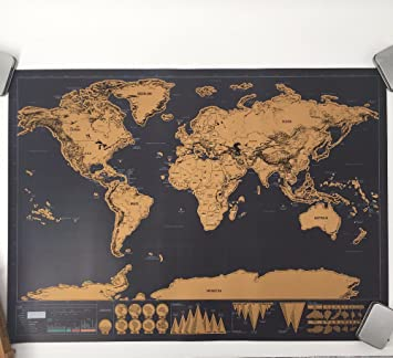 Amazon scratch off world map world travel tracker map scratch off world map world travel tracker map scratch off map travel map gumiabroncs Choice Image