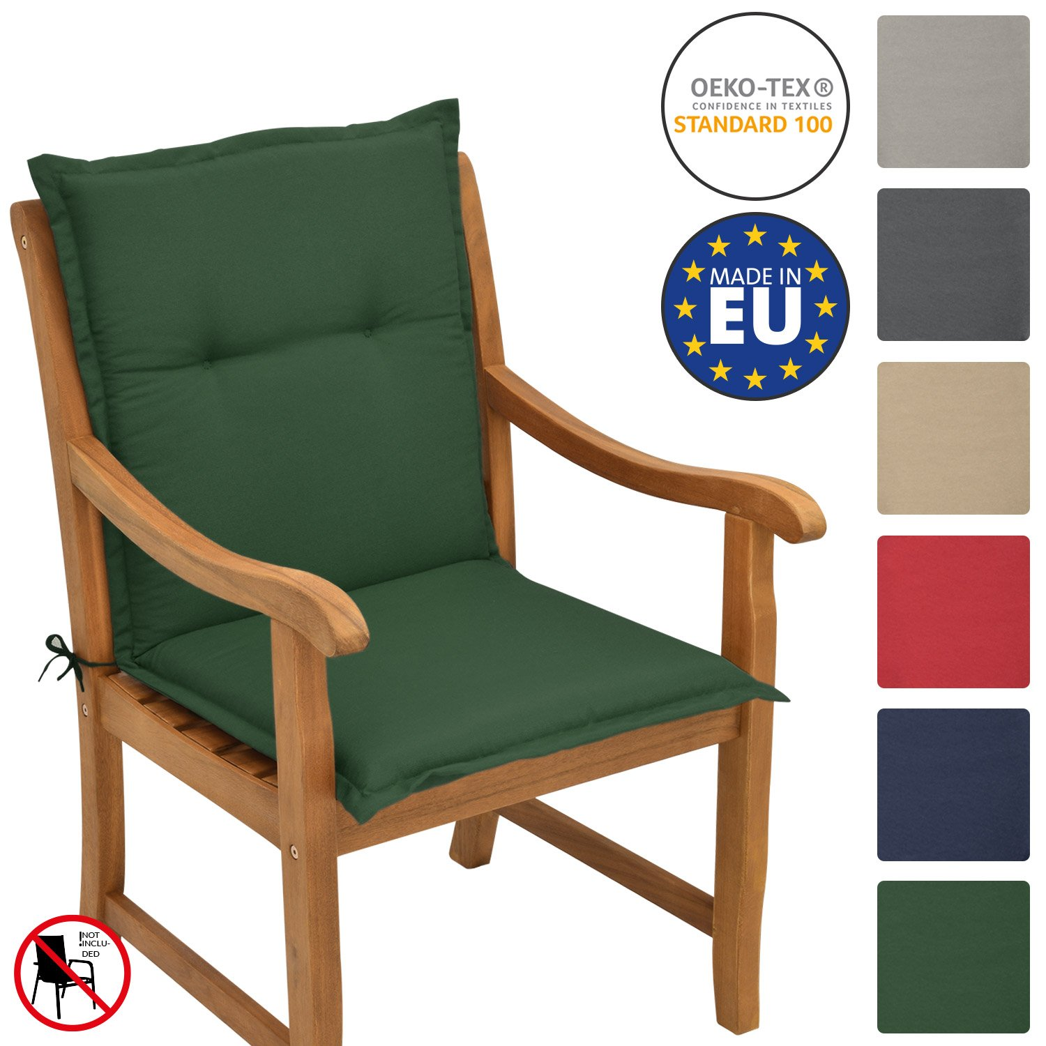 Beautissu Garden Chair Cushion Loft NL 100 x 50 x 6 cm Seatpad and Backrest with Soft Foamcore Padding Natural