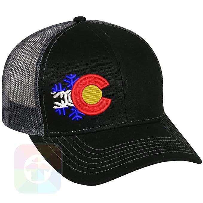 6ad63280558 Custom Tshirts and Hats Snowflake C Structured Snapback Baseball Mesh Hat  Cap  1851 at Amazon Men s Clothing store
