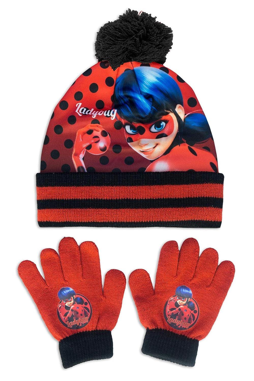 Miraculous LadyBug e Cat Noir - Set Invernale 2pz Cappello e Guanti - Bambina - Full Print - Prodotto Originale con Licenza Ufficiale 246-087