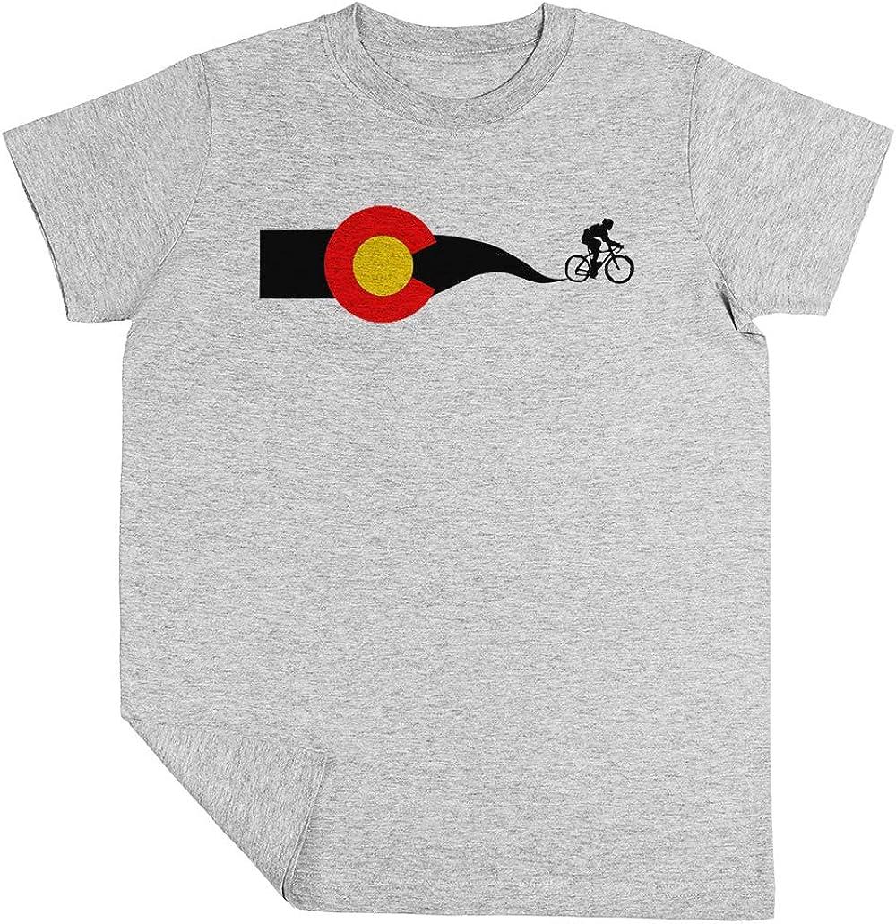 Colorado Bandera Ciclista Niño Niña Unisexo Gris Camiseta Manga Corta Kids Grey T-Shirt: Amazon.es: Ropa y accesorios