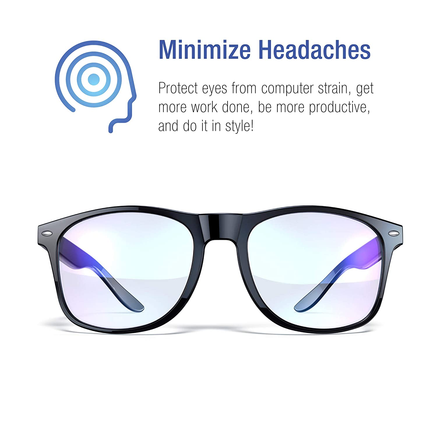 67e6e118ac16 Amazon.com: Blue Light Blocking Glasses - Gamer Glasses, Filter Blue Light  from LCD/LED Screen and Computer, Eyewear for Deep Sleep and Helps Prevent  Eye ...