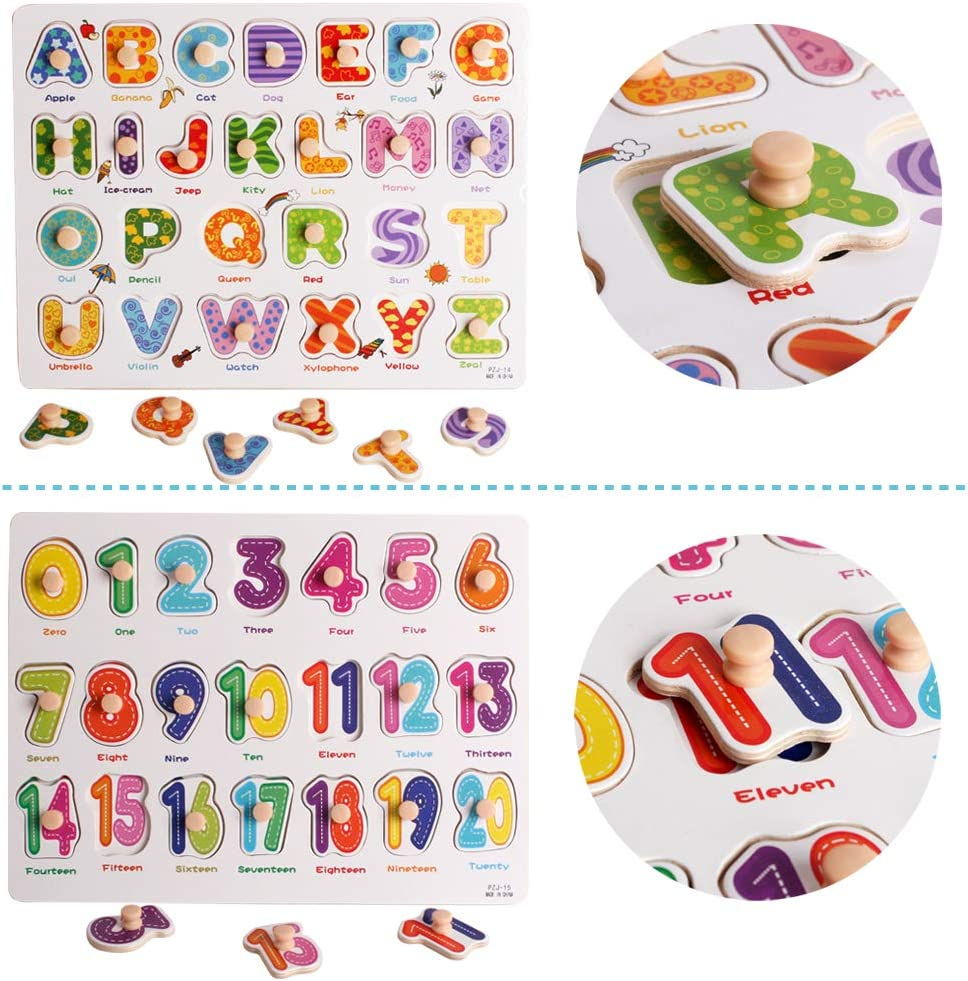 UMTOY Toddler 4PCS Peg Puzzle Set Childrens Puzzles with Wooden Letters and Animal Numbers Educational and Learning Preschool Puzzle Toys for Babies Boys and Girls
