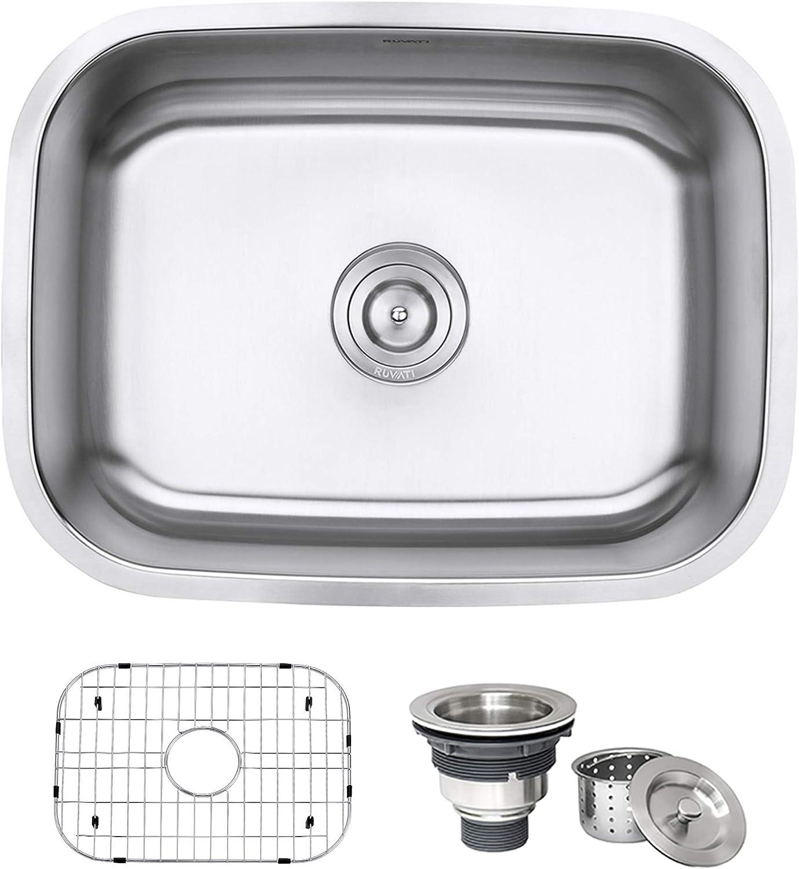 Ruvati Rvm4132 Undermount 16 Gauge 24 Kitchen Single Bowl Sink Stainless Steel Amazon Com