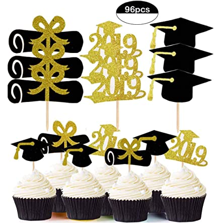 Gdaya 96pcs Graduation Cupcake Toppers 2019 Graduation Party Decorations Food Appetizer Fruit Dessert Picks For Graduation Party Mini Cake